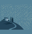 landscape with a village on a hill at night vector image vector image