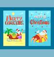 merry christmas santa claus on lifebuoy seagull vector image vector image
