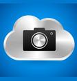 metallic cloud icon with camera vector image