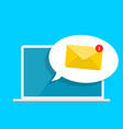 new email on the laptop screen notification vector image vector image