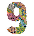 number nine zentangle decorative object vector image vector image