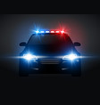police car light siren in night front view patrol vector image