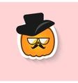 Pumpkin hipster big glasses and hat vector image vector image