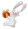 rabbit with gift box vector image vector image