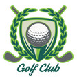 retro style sport emblem with golf ball vector image