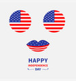 round circle shape american flag icon set face vector image vector image