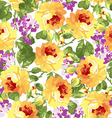 Seamless floral patter with yellow roses vector image vector image
