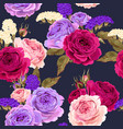 seamless pattern with roses and dry flowers vector image vector image