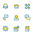 set 9 flat line business icons help andf vector image