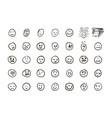 sketch of hand drawn set of cartoon emoticon emoji vector image