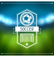 Sports background with soccer stadium and labels vector image
