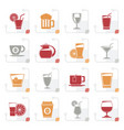 stylized drinks and beverages icons vector image