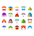 tent simple flat color icons set vector image