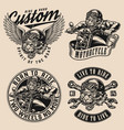 vintage monochrome motorcycle badges vector image vector image