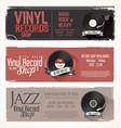 vinyl record shop retro grunge banner 4 vector image vector image