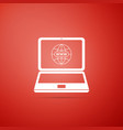 website on laptop screen icon on orange background vector image vector image