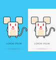 white rat cute cartoon vector image vector image