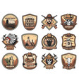 wild west icons set western signs vector image vector image