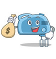 with money bag mixer character cartoon style vector image