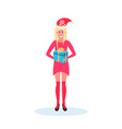 woman holding gift box wearing red dress hat happy vector image