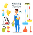 cleaning service man character vector image