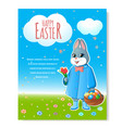easter bunny poster with basket-01 vector image