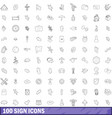 100 sign icons set outline style vector image vector image