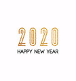 2020 new year text golden with bright sparkles vector image