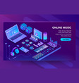 3d isometric site of listening music vector image vector image