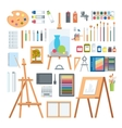 Art tools flat painting icons set vector image vector image