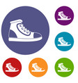 athletic shoe icons set vector image vector image