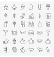 Barbecue Line Icons Big Set vector image vector image