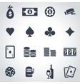 Black casino icon set