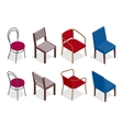 cafe chair collection Flat 3d vector image