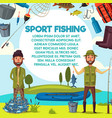 cartoon fisher men with fish catch and rod vector image