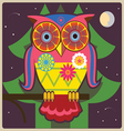 cartoon owl night meditation vector image vector image
