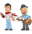 cartoon street musician with guitar characters set vector image