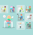 characters work at computer in office big set vector image vector image