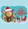 christmas gifts santa clock and reindeer sleigh vector image