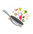 cooking process flipping food in a pan design vector image vector image