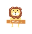 Cute lion with a sign for text vector image vector image