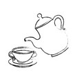 cute teapot kitchenware vector image vector image