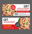discount gift voucher fast food template design vector image