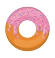 donut with medium pink glazed and colored sparks vector image vector image
