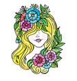 doodle a girl s face hidden hair and flowers vector image vector image