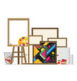 easel flat in studio interior vector image