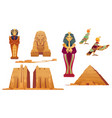 egypt landmarks and ancient egyptian deities set vector image
