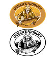 fisherman badge design with big trout fish vector image