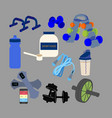 fitness equipment set vector image vector image