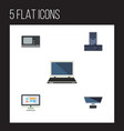 flat icon computer set of processor display vector image vector image